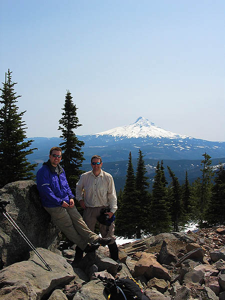 Mt Defiance 2004: Curtis, Jay, and Mt. Hood
