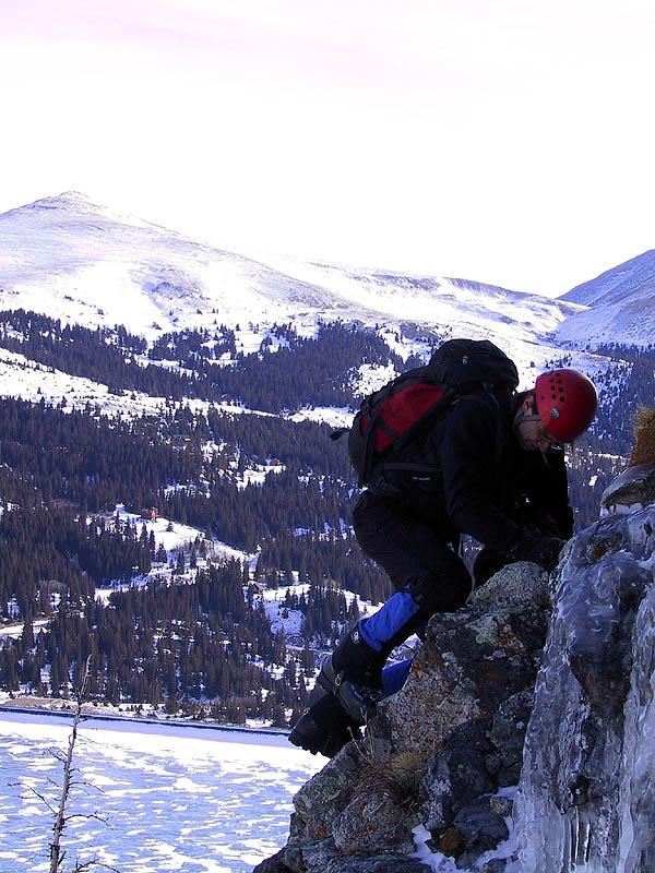 Lincoln Falls 2002: Greg Climbing for the Anchor