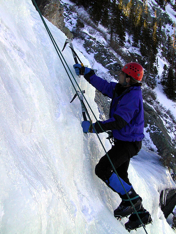 Lincoln Falls 2002: Greg Climbing Ice 06