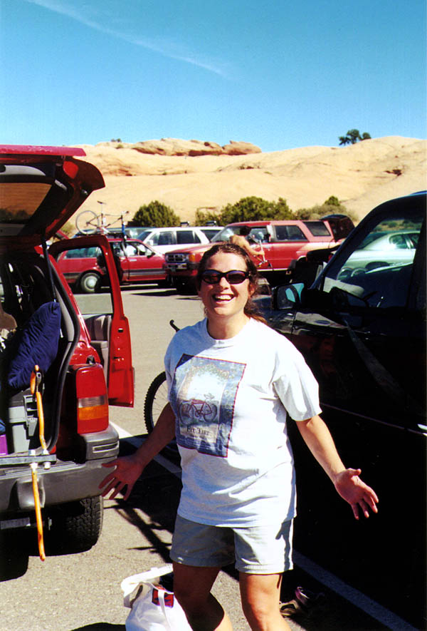 Moab 2000: Trish in the Parking Lot