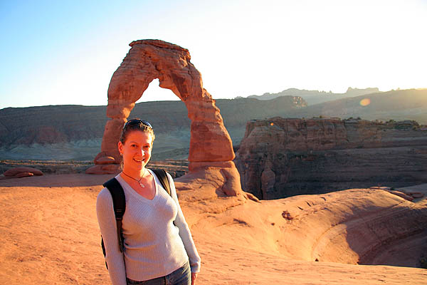 Moab 2005: Arches: Jane at Delicate Arch