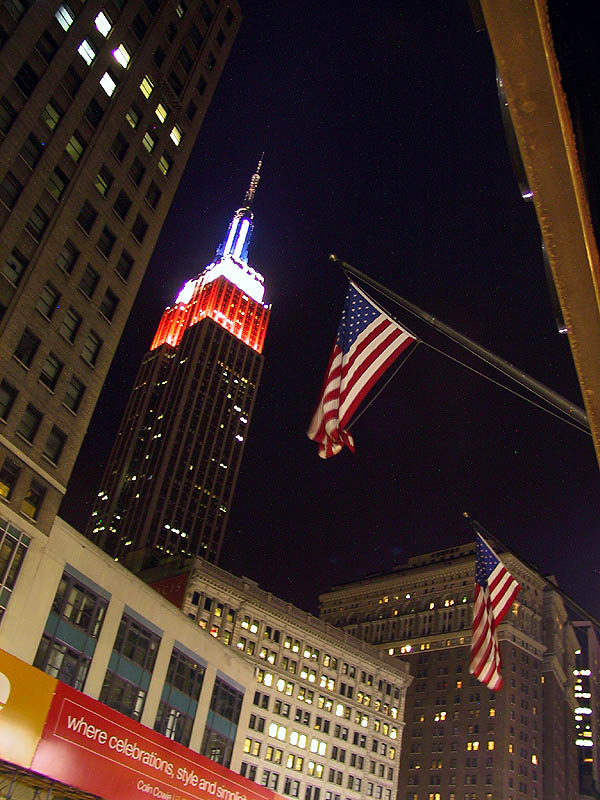 NYC 2002: Empire State Building with Flags