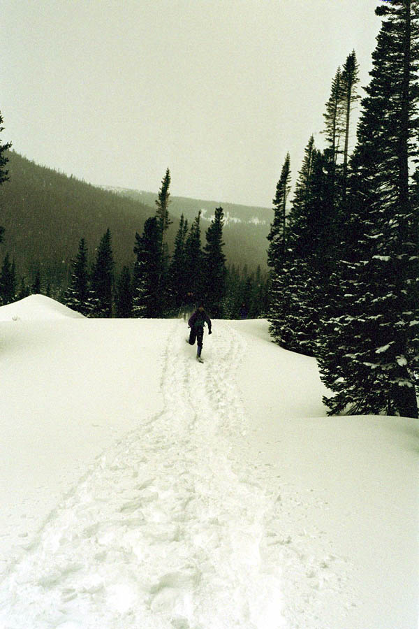 Greg Running on Snowshoes