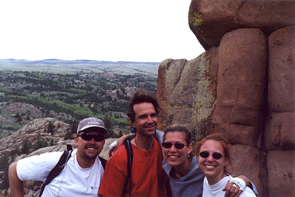 Vedauwoo May 2000: Curtis Greg Laura and Amy on top